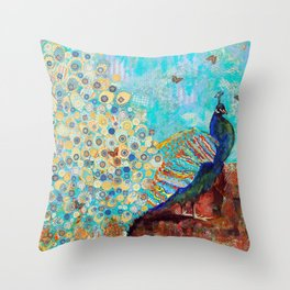 Peacock Paparazzi, peacock mixed media collage painting Throw Pillow