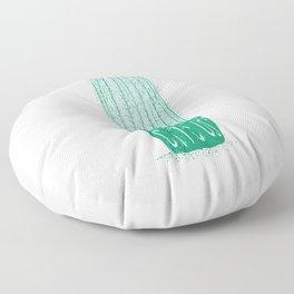 Mint Green Line Art - Catcus - Cat Cactus - Plant Lover Floor Pillow