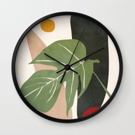 Abstract Monstera Leaf Wall Clock