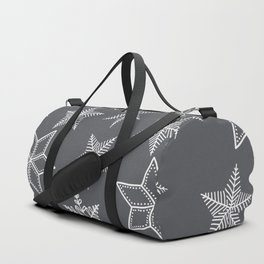 Simple Snowflakes On Grey Background Duffle Bag