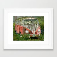 volkswagon Framed Art Prints featuring VW Bus in the Woods by Barb Laskey Studio