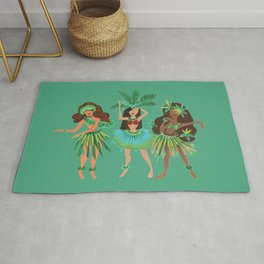 Luau Girls on Mint Rug