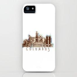 Columbus City, Ohio Skyline Graphic iPhone Case
