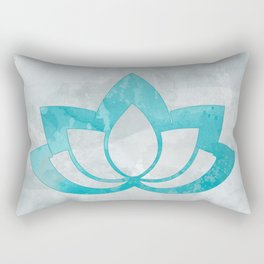Aqua Lotus Flower on Gray Rectangular Pillow