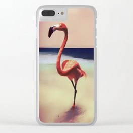Flamingo beach Clear iPhone Case