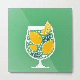 Refreshing Lemon Cocktail on Green Metal Print