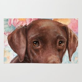 Flowers and Chocolate (chocolate lab dog watercolor portrait painting) Rug