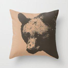 Bear face greeting Throw Pillow