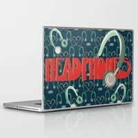 headphones Laptop & iPad Skins featuring Headphones by Zachary Perry