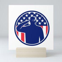 American Veteran Soldier or Military Serviceman Personnel Saluting the USA Stars and Stripes Flag Circle Retro Color Mini Art Print