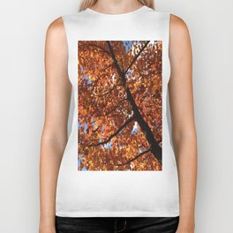 Red Leaves of Vermont Foliage Biker Tank