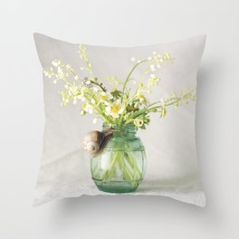 Spring bouquet with a snail - analog floral photography Throw Pillow