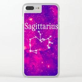 Starry Sagittarius Constellation Clear iPhone Case