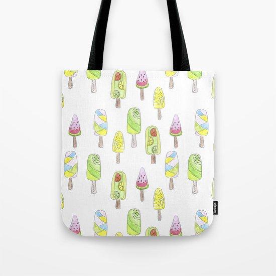 Watercolor seamless ice cream pattern Tote Bag