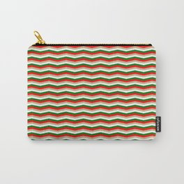 Red Green White and Gold Christmas Wavy Chevron Stripes Carry-All Pouch