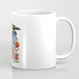 Bird on a Blue Pail with Poppies and Daisies Coffee Mug
