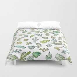 Cute Green Watercolor Paint Summer Cactus Pattern Duvet Cover