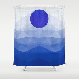 Lapis Lazuli Ocean - Minimal Geometry Shower Curtain