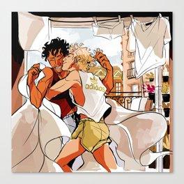 Achilles & Patroclus laundry day Canvas Print