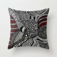 wave Throw Pillows featuring Wave by Lauren Moore
