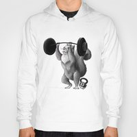 crossfit Hoodies featuring Crossfit Squirrel by The Elfin Artist