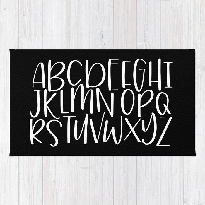 Handlettered Alphabet Monochrome Nursery Decor Rug