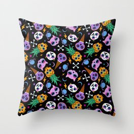 cute skull party Throw Pillow