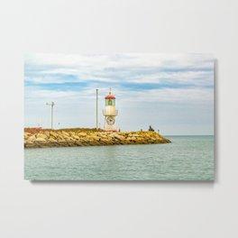 Lighthouse at Rock Breakwater Salinas Ecuador Metal Print