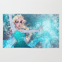 frozen elsa Area & Throw Rugs featuring Frozen Elsa by Teo Hoble