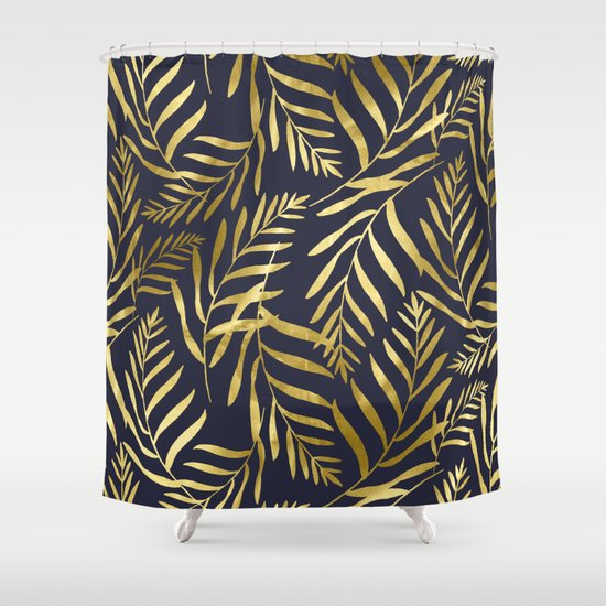 Gold Leaves On Navy Shower Curtain By Simple Luxe