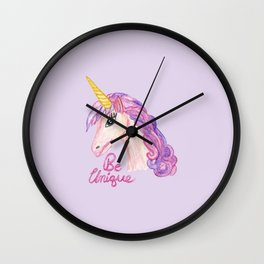Girly Watercolor Unicorns Be Unique Typography Wall Clock