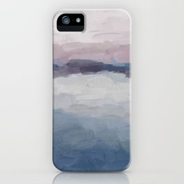 Plum Purple Lavender Blue Abstract Painting Ocean Waves Cloud Horizon, Modern Wall Art, Digital iPhone Case