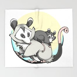 Moon Possum Mama! Throw Blanket