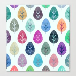 Watercolor Forest Pattern Canvas Print