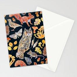 Autumn Wildlife Pattern - Dark Stationery Cards