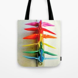 Rainbow Peace Cranes Tote Bag