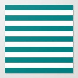 Horizontal Stripes (Teal/White) Canvas Print