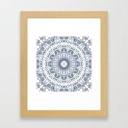 Grayish Blue White Flowers Mandala Framed Art Print