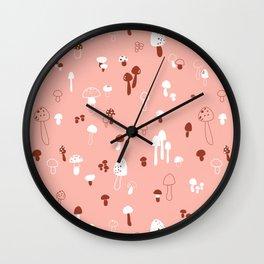 Autumn Mushrooms Pale Rose Wall Clock