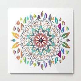 Colourful Leaves Mandala Design On White Metal Print
