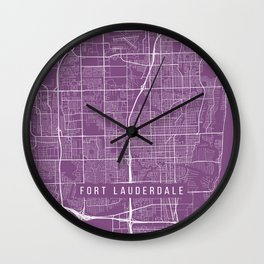 Fort Lauderdale Map, USA - Purple Wall Clock