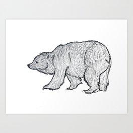 Walking Bear Sketch Art Print