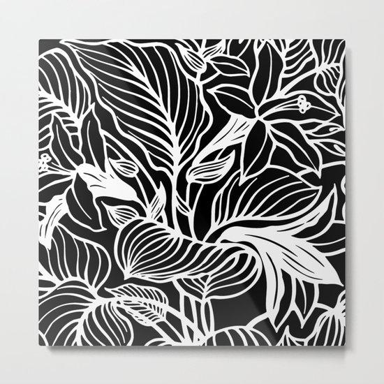 Black White Floral Metal Print