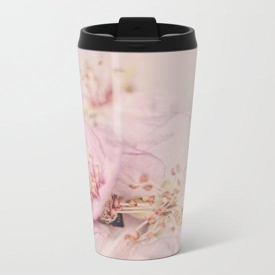 Romantic Soft Pink Peach Blossom Metal Travel Mug