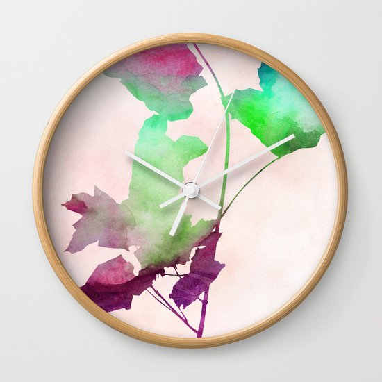 maple 2 watercolor by Jacqueline Madonado & Garima Dhawan Wall Clock