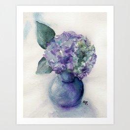 HYDRANGEA FLOWER in WATERCOLORS Art Print