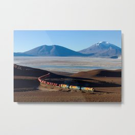 A train hauling ore from San Cristobal mine, Bolivia color photography - photograph by David Gubler Metal Print