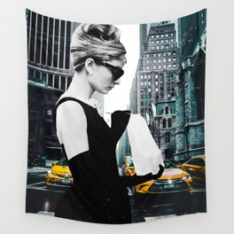 """""""Audrey In The City"""" Photo Montage Wall Tapestry"""