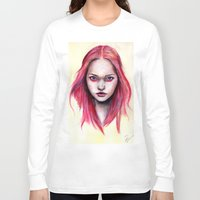gemma correll Long Sleeve T-shirts featuring Pink Gemma-2012   by Bella Harris