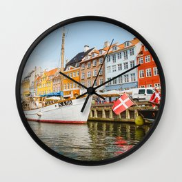 Copenhagen Nyhavn Canal with Colorful Houses Wall Clock